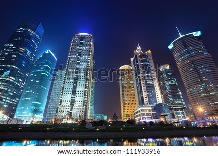 night scenes of shanghai financial center district - stock photo