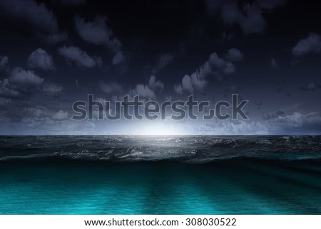 Night sea and sky with clouds. Concept - stock photo