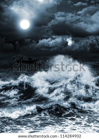night sea in the moonlight - stock photo