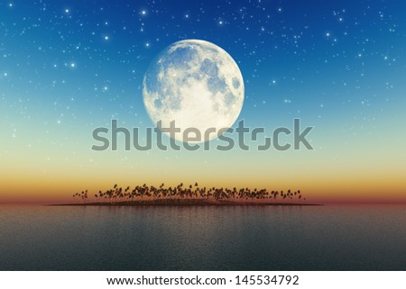 night sea landscape with beautiful coconut island with big full moon behind. Elements of this image furnished by NASA - stock photo