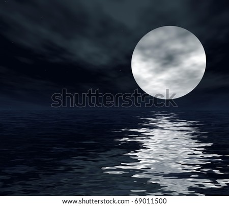 night sea landscape with clouds and a bright moon in the starry sky. 3d computer modeling