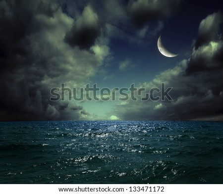 night sea, the ocean as a natural background - stock photo