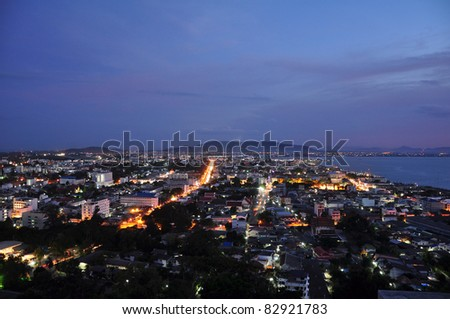Night seaside city at Songkha,thailand