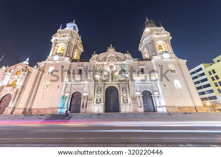 Night Shoot and Long Exposure of Plaza de Mayor, Lima, Peru  - stock photo