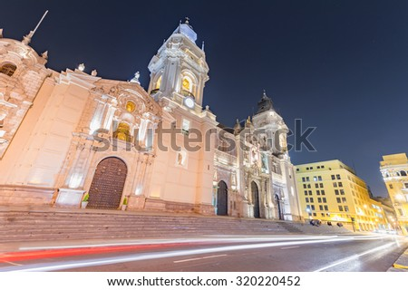 Night shot & Long exprouser of the cathedral church and the main - stock photo