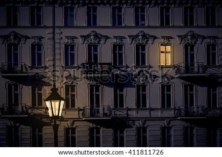 night shot of a beautiful old house in Kreuzberg, Berlin - stock photo
