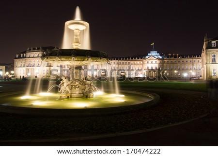 Night shot of fountain on square Schlossplatz in center of Stuttgart, Germany - stock photo