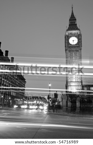 Night shot of Houses of Parliament - stock photo