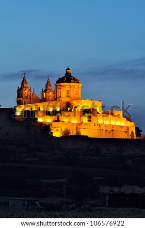 Night shot of Mdina, also known as the silent city and Malta's former capital city, Malta. - stock photo