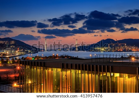 Night shot of Nagasaki bay - stock photo