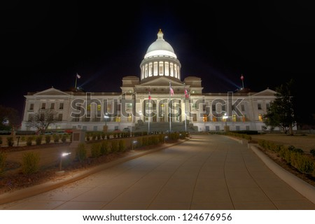 Night shot of the Arkansas State Capitol Building in Little Rock. - stock photo