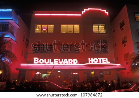 Night shot of The Boulevard Hotel in the Art-Deco District of south beach, Miami Beach, Florida