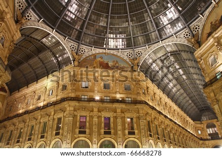 Night shot of the famous Galleria Vittorio Emanuele II in Milan - stock photo