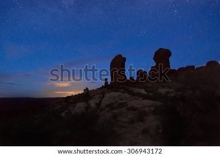 Night shot of the Garden of Eden, Arches National Park, UT - stock photo