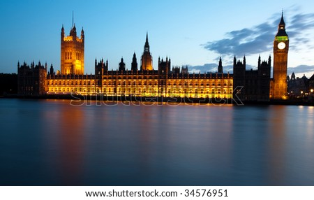 Night shot of the Houses of Parliament - stock photo