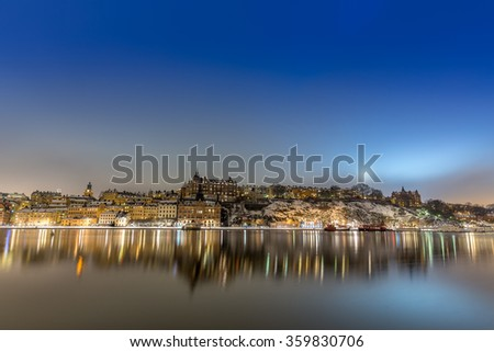 Night shot of the island Sodermalm in Stockholm, Sweden, during the winter.