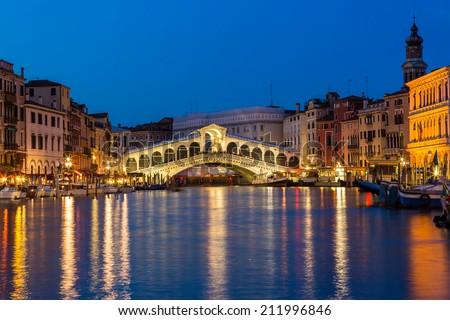 Night shot of the Rialto bridge, Venice Italy - stock photo