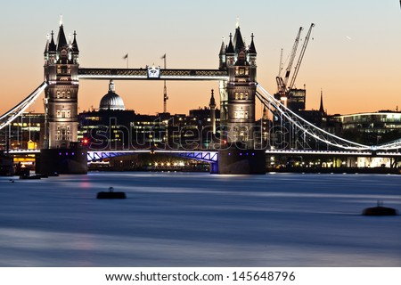 Night shot of Tower bridge, London. - stock photo