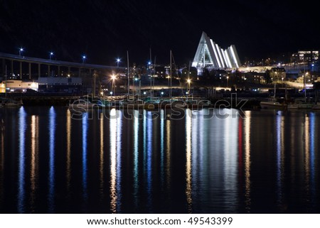 Night shot of Tromso, Norway - stock photo