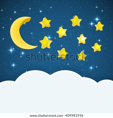 night sky background with cartoon stars and moon and cloud space for text. raster illustration