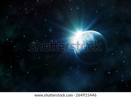 Night sky background with fictional planet, nebula and stars - stock photo