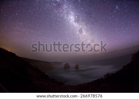 Night sky in the southern hemisphere with milky way, taken at Tweleve Apostles in Australia - stock photo
