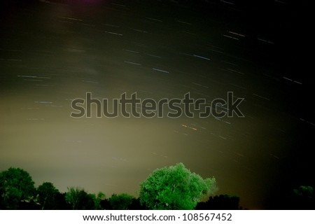 Night sky moving stars