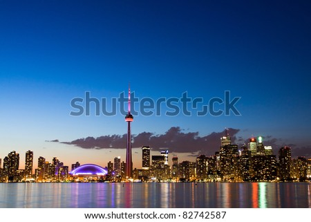 Night sky over Toronto cityscape during sunset. Taken from Center Island.