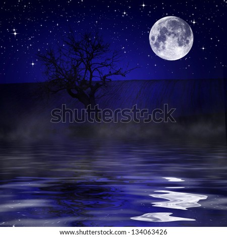 Night sky reflecting in water - stock photo