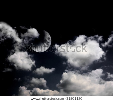 night sky with clouds and moon - stock photo
