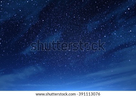 Night sky with clouds fullly with the star - stock photo