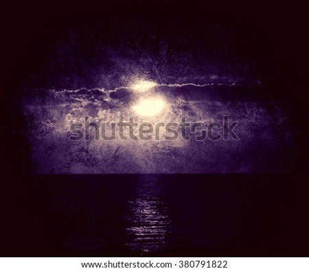 Night Sky With Full Moon And Reflection In Sea, Stars, Beautiful Clouds. Vintage Grunge Landscape