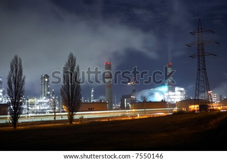 night-sky with industry and refinery