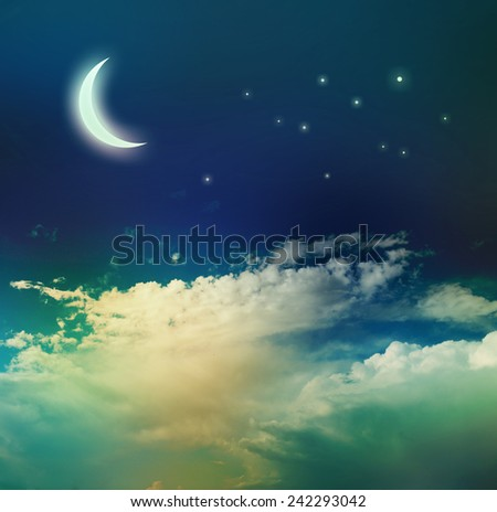 Night sky with moon and stars. - stock photo