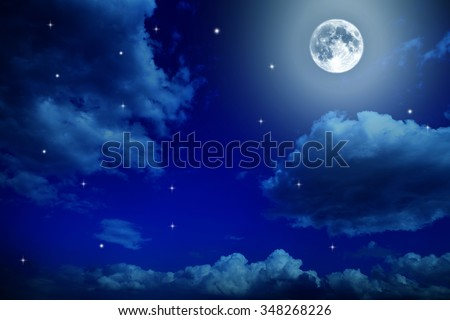 Night sky with stars and full moon background - stock photo