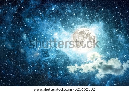 Night sky with stars and full moon. Halloween background. Elements of this image furnished by NASA