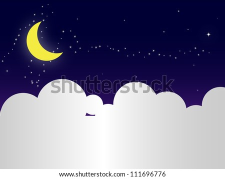 night sky with stars,cloud and moon - stock photo
