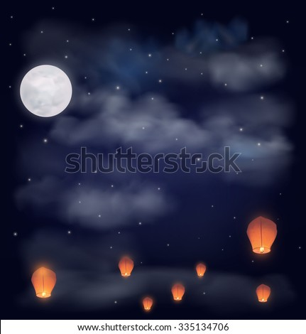 Night sky with the moon, stars and chinese wish lanterns. Illustration - stock photo