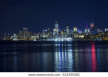Night skyline of New York City.