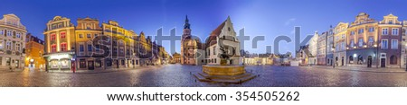 Night Skyline of Poznan Old Market Square in western Poland. Panoramic montage from 17 HDR images - stock photo