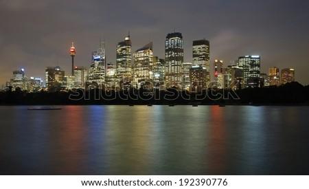 Night skyline of Sydney - stock photo
