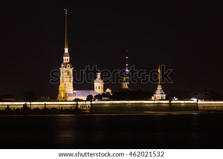 Night St. Petersburg. Peter-Pavels Fortress.