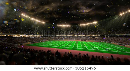 Night stadium arena Football field championship win! Confetti and tinsel.