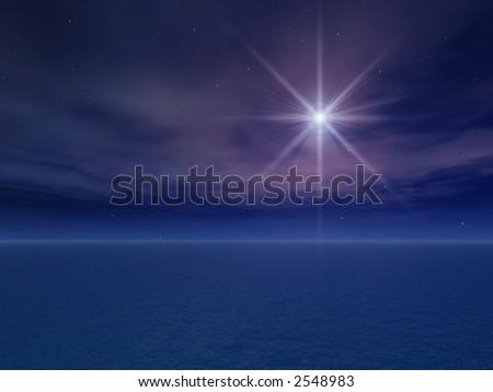 Night Star Over Sea - stock photo