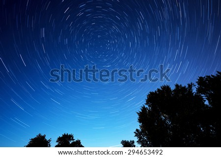 night star trails with tree as foreground  - stock photo