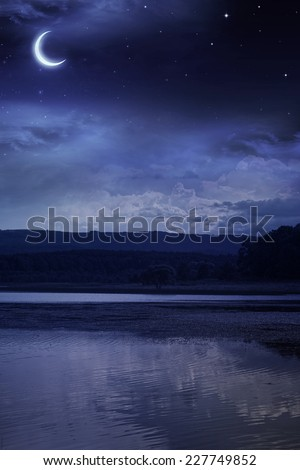 Night starry sky over the forest and the river - stock photo