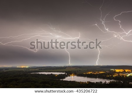 Night storm over the lake