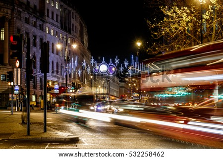 Night street in Christmas, London