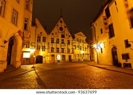 Night Street in the Old Town of Tallinn, Estonia - stock photo