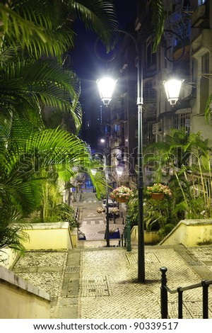 Night streets of Macao, ex-colony of Portugal - stock photo